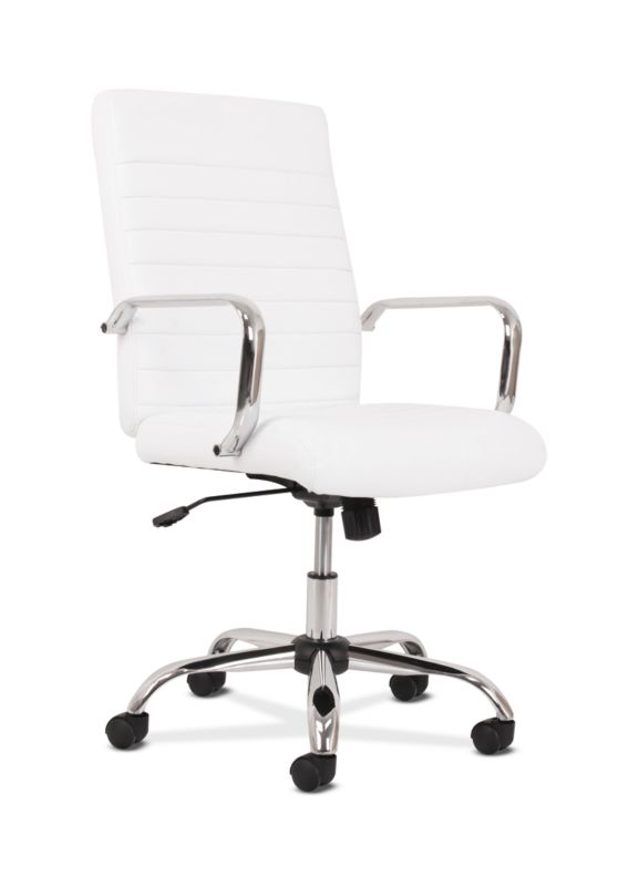 HON Executive Chair | Fixed Arms | White Leather | Chrome Accents ; UPC: 191734204373 ; Image 1