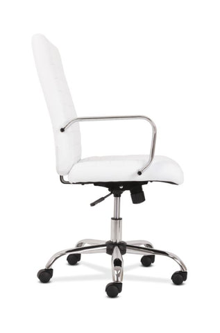 HON Executive Chair | Fixed Arms | White Leather | Chrome Accents ; UPC: 191734204373 ; Image 4