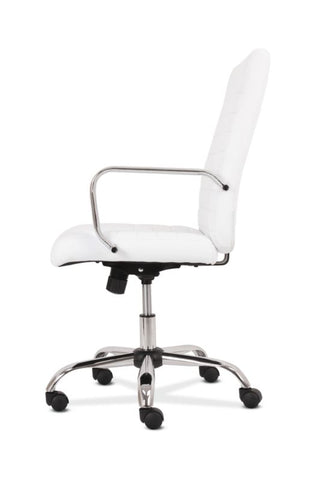 HON Executive Chair | Fixed Arms | White Leather | Chrome Accents ; UPC: 191734204373 ; Image 5