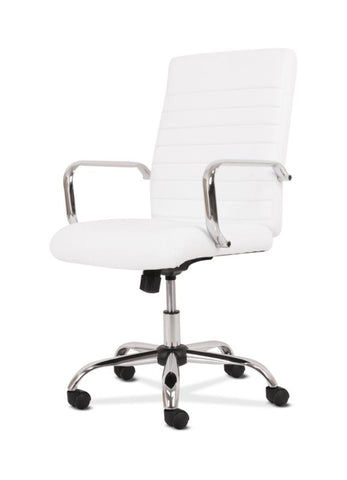HON Executive Chair | Fixed Arms | White Leather | Chrome Accents ; UPC: 191734204373 ; Image 2
