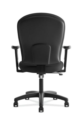 HON Mid-Back Task Chair | Center-Tilt, Tension, Lock | Adjustable Arms | Black Fabric ; UPC: 641128986694 ; Image 5