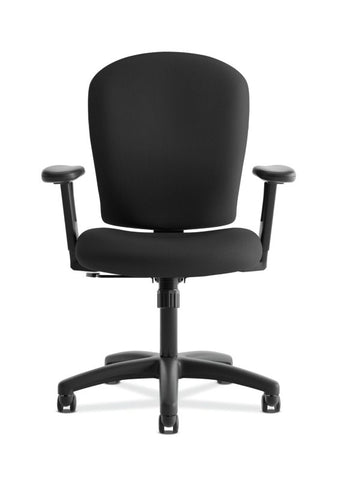 HON Mid-Back Task Chair | Center-Tilt, Tension, Lock | Adjustable Arms | Black Fabric ; UPC: 641128986694 ; Image 2