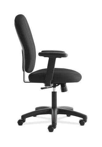 HON Mid-Back Task Chair | Center-Tilt, Tension, Lock | Adjustable Arms | Black Fabric ; UPC: 641128986694 ; Image 3