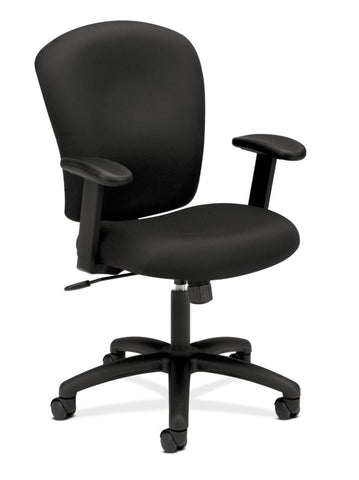 HON Mid-Back Task Chair | Center-Tilt, Tension, Lock | Adjustable Arms | Black Fabric ; UPC: 641128986694 ; Image 1