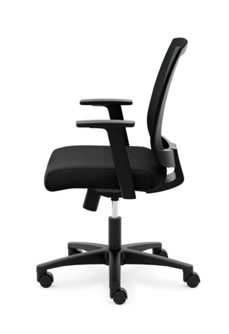 HON Mesh Mid-Back Task Chair | Center-Tilt, Tension, Lock | Fixed Arms | Black Mesh | Black Fabric ; Image 4