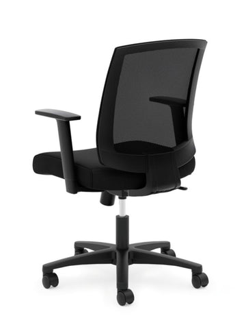HON Mesh Mid-Back Task Chair | Center-Tilt, Tension, Lock | Fixed Arms | Black Mesh | Black Fabric ; Image 3