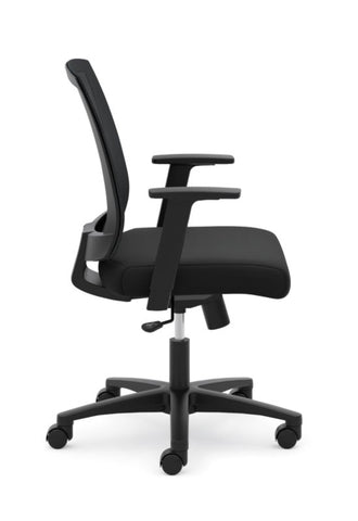 HON Mesh Mid-Back Task Chair | Center-Tilt, Tension, Lock | Fixed Arms | Black Mesh | Black Fabric ; Image 5