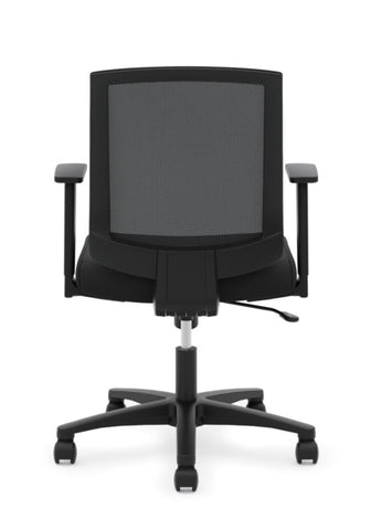 HON Mesh Mid-Back Task Chair | Center-Tilt, Tension, Lock | Fixed Arms | Black Mesh | Black Fabric ; Image 2