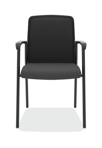 HON Instigate Mesh Back Stacking Multi-Purpose Chair | Fixed Arms | Black Fabric ; Image 2