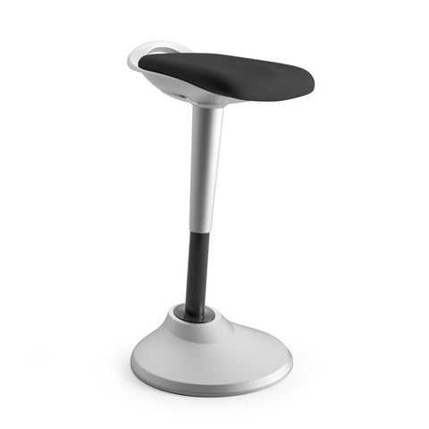 HON Perch | 360-Degree Swivel | Silver Base | Black Fabric ; UPC: 745123542579 ; Image 1