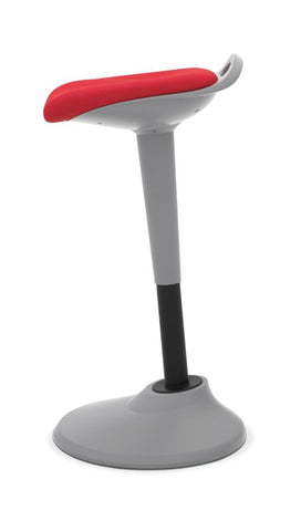 HON Perch | 360-Degree Swivel | Silver Base | Red Fabric ; UPC: 745123542678 ; Image 3