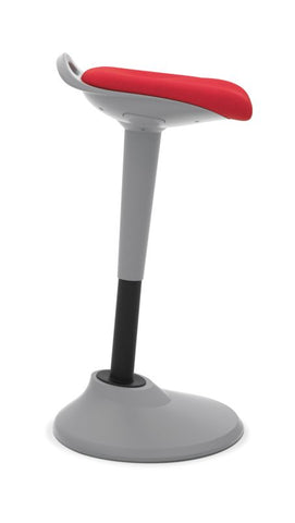 HON Perch | 360-Degree Swivel | Silver Base | Red Fabric ; UPC: 745123542678 ; Image 2