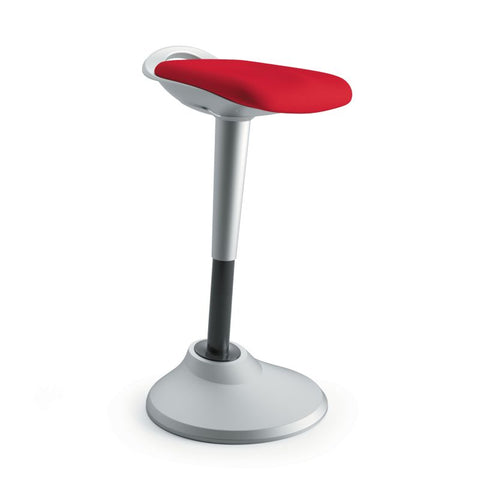 HON Perch | 360-Degree Swivel | Silver Base | Red Fabric ; UPC: 745123542678 ; Image 1