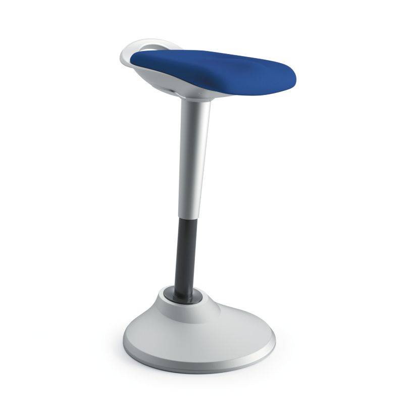 HON Perch | 360-Degree Swivel | Silver Base | Blue Fabric ; UPC: 089191451532 ; Image 1