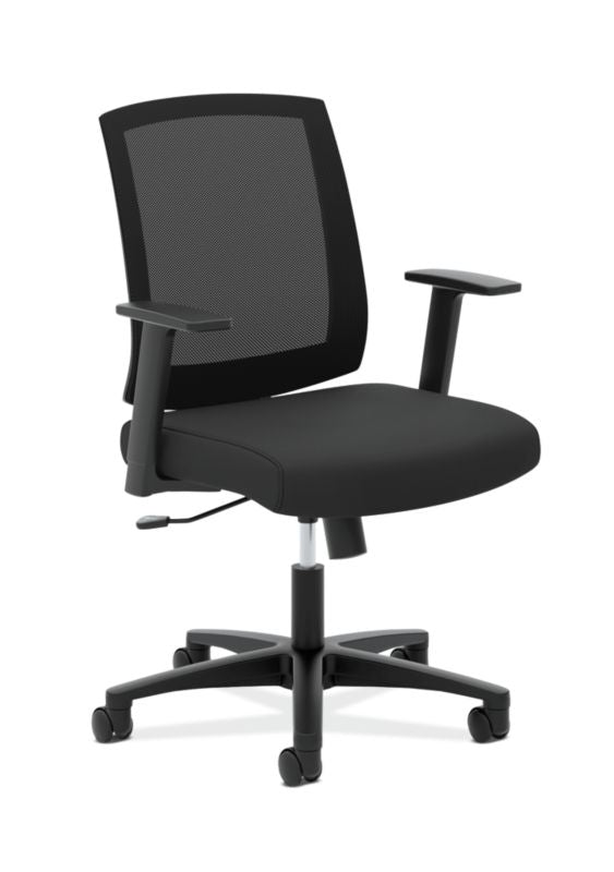 HON Mesh Mid-Back Task Chair | Center-Tilt, Tension, Lock | Fixed Arms | Black Mesh | Black Fabric ; Image 1