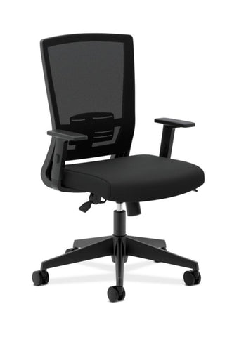 HON Mesh High-Back Task Chair | Center-Tilt, Tension, Lock, Adjustable Lumbar | Adjustable Arms | Black Fabric ; Image 1