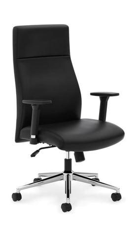 HON Define High-Back Executive Chair | Synchro-Tilt, Tension, Lock | Adjustable Arms | Black SofThread Leather ; UPC: 631530600356 ; Image 1