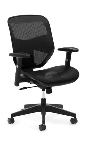 HON Prominent Mesh High-Back Task Chair | Center-Tilt, Tension, Lock | Adjustable Arms | Black Mesh ; UPC: 191734981632 ; Image 1