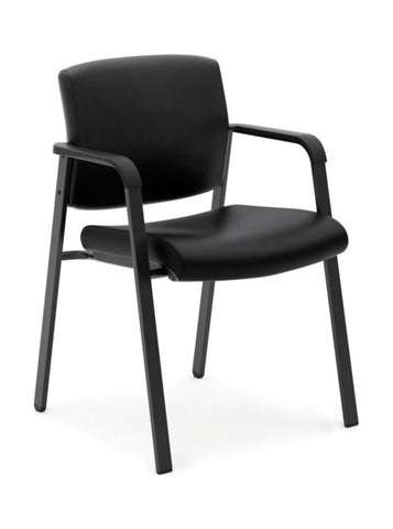 HON Validate Stacking Guest Chair | Black SofThread Leather ; UPC: 888531559804 ; Image 1