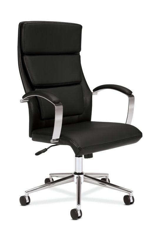 HON High-Back Executive Chair | Center-Tilt, Tension, Lock | Polished Aluminum Base | Black SofThread Leather ; UPC: 641128135016 ; Image 1