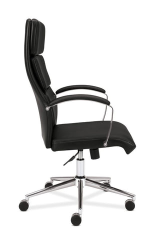 HON High-Back Executive Chair | Center-Tilt, Tension, Lock | Polished Aluminum Base | Black SofThread Leather ; UPC: 641128135016 ; Image 4