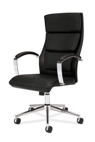 HON High-Back Executive Chair | Center-Tilt, Tension, Lock | Polished Aluminum Base | Black SofThread Leather ; UPC: 641128135016 ; Image 2