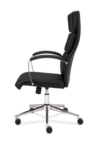 HON High-Back Executive Chair | Center-Tilt, Tension, Lock | Polished Aluminum Base | Black SofThread Leather ; UPC: 641128135016 ; Image 5