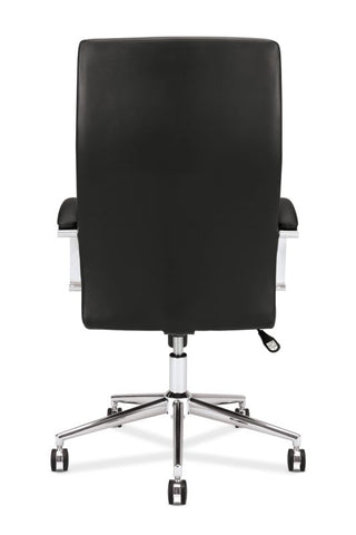 HON High-Back Executive Chair | Center-Tilt, Tension, Lock | Polished Aluminum Base | Black SofThread Leather ; UPC: 641128135016 ; Image 6