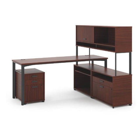 "HON Manage L-Workstation | Desk, 2 File Centers, Pedestal, Overhead | 72""W x 60""D 
