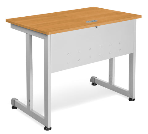 "OFM Model 55139 24"" x 36"" Modular Computer and Training Table, Maple with Silver Frame ; UPC: 811588016969 ; Image 1"