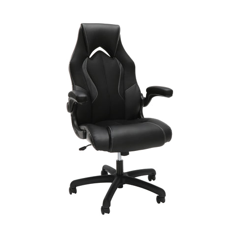 OFM Essentials Collection High-Back Racing Style Bonded Leather Gaming Chair, in Black (ESS-3086-BLK) ; UPC: 192767002554 ; Image 1