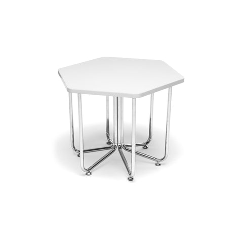 OFM 66T-WHT Hex Series Table with Chrome Frame ; UPC: 845123080061 ; Image 1