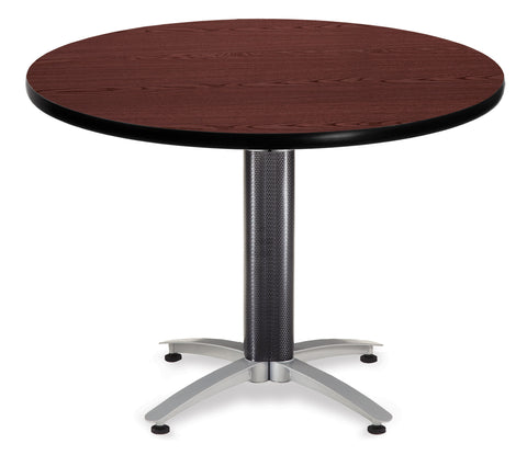 "OFM Model MT42RD 42"" Multi-Purpose Round Table with Metal Mesh Base, Mahogany ; UPC: 811588010424 ; Image 1"