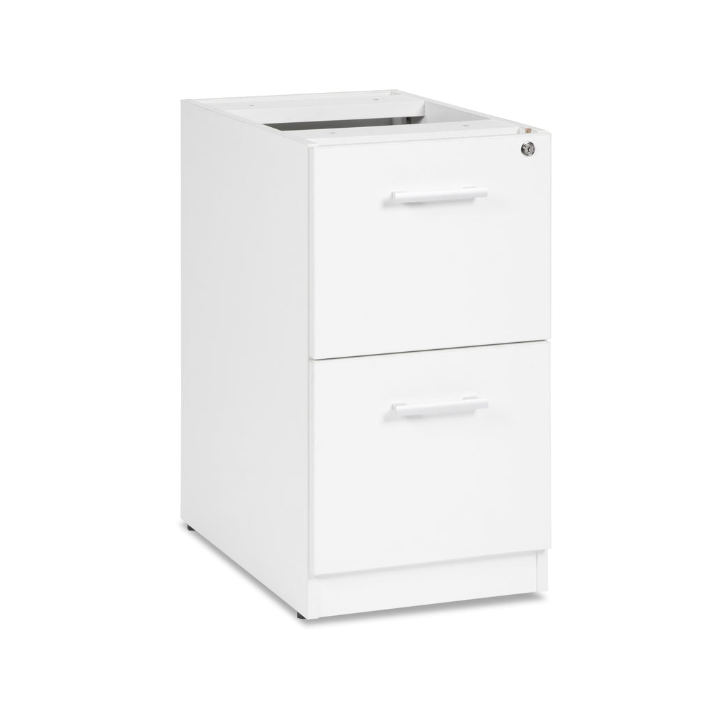 OFM Fulcrum Series Locking Pedestal, 2-Drawer Filing Cabinet, White (CL-FF-WHT) ; UPC: 845123097472 ; Image 1
