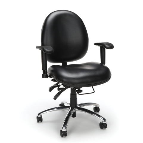 OFM Model 247-VAM 24 Hour Big and Tall Ergonomic Computer Swivel Task Chair with Arms, Anti-Microbial/Anti-Bacterial Vinyl, Black ; UPC: 811588013050 ; Image 1