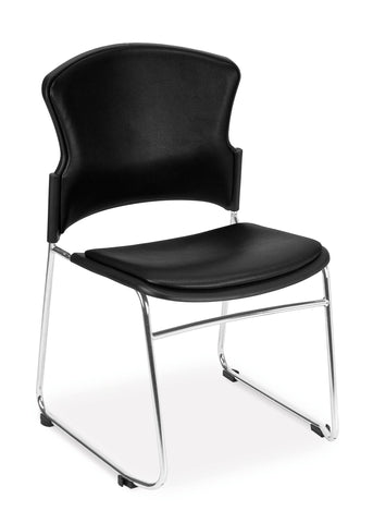OFM Contract Anti-Microbial Vinyl Stack Chair, Black ; UPC: 811588013944 ; Image 1