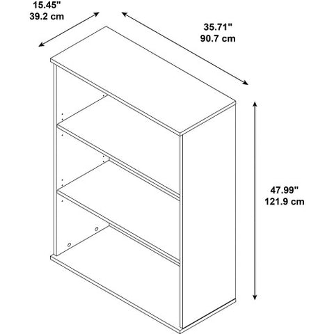 Bush BBF Bookcases 48H 3 Shelf Bookcase, Mocha Cherry BK4836MR ; UPC: 042976498696 ; Image 2