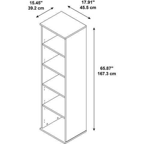 Bush BBF Bookcases 66H 5 Shelf Narrow Bookcase, Natural Cherry BK6618NC ; UPC: 042976498856 ; Image 2