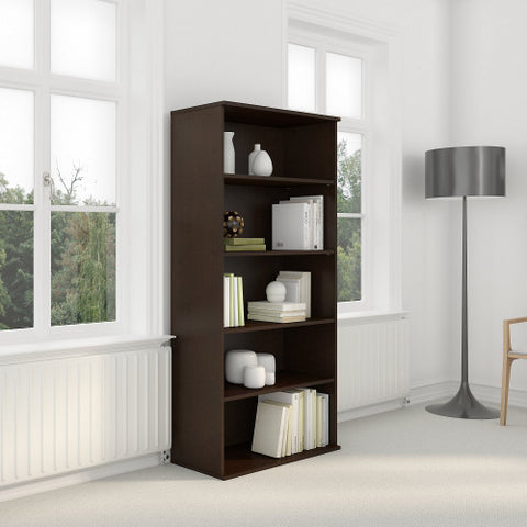 Bush BBF Bookcases 72H 5 Shelf Bookcase, Mocha Cherry BK7236MR ; UPC: 042976498870 ; Image 2
