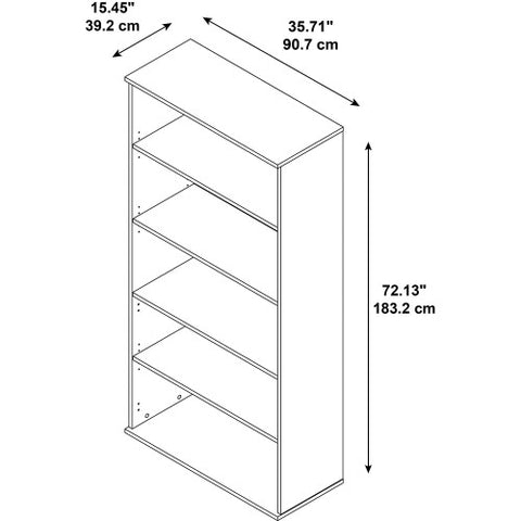 Bush BBF Bookcases 72H 5 Shelf Bookcase, Mocha Cherry BK7236MR ; UPC: 042976498870 ; Image 3