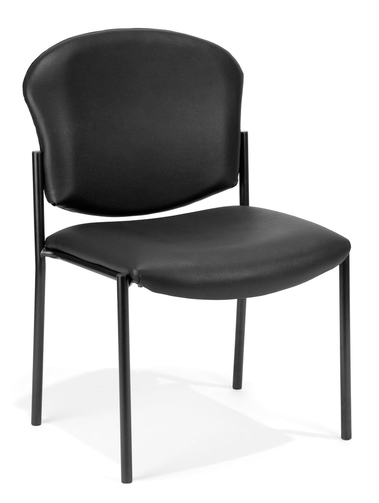 OFM Manor Series Armless Guest and Reception Chair, Anti-Microbial/Anti-Bacterial Vinyl, in Black (408-VAM-606) ; UPC: 811588013227 ; Image 1