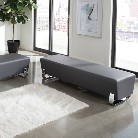 OFM Axis Series Contemporary Triple Seating Bench, Textured Vinyl with Chrome Base, in Slate (4003C-SLT) ; UPC: 845123089033 ; Image 11