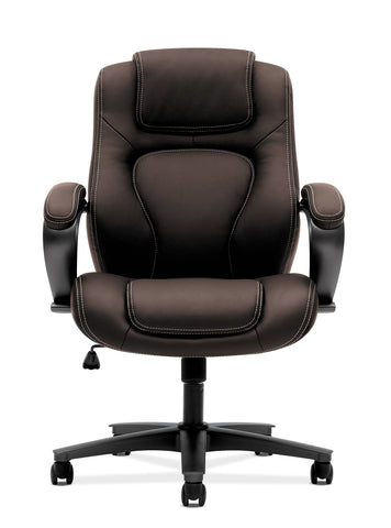 HON Managerial Office Chair- High-Back Computer Desk Chair with Loop Arms , Brown (VL402) ; UPC: 089191140658 ; Image 2