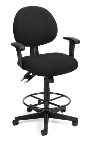 OFM Model 241-AA-DK 24-Hour Ergonomic Multi-Adjustable Upholstered Task Chair with Arms and Drafting Kit, Black ; UPC: 845123031391 ; Image 1