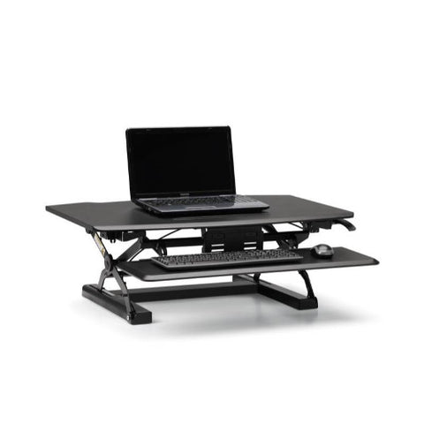 HON Desktop Riser with Keyboard Tray, Black ; UPC: 888852693232; Image 3