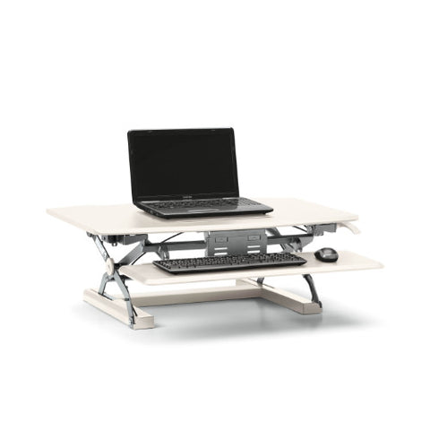 HON Desktop Riser with Keyboard Tray | White ; UPC: 888206940159 ; Image 1