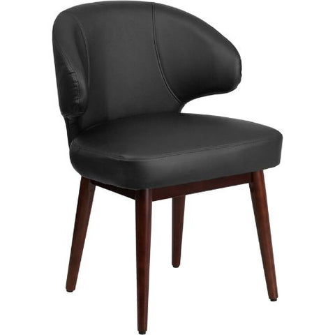 Flash Furniture Comfort Back Series Black Leather Side Reception Chair with Walnut Legs BT1BKGG ; Image 1 ; UPC 889142055396