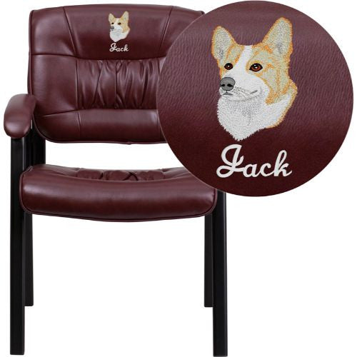 Embroidered Burgundy Leather Executive Side Chair with Black Frame Finish; (UPC: 847254050739); Burgundy