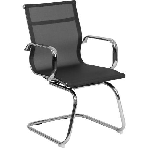 Flash Furniture Transparent Black Mesh Side Reception Chair with Chrome Sled Base BT2768LGG ; Image 1 ; UPC 889142010272