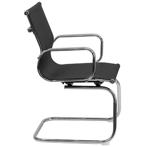 Flash Furniture Transparent Black Mesh Side Reception Chair with Chrome Sled Base BT2768LGG ; Image 2 ; UPC 889142010272